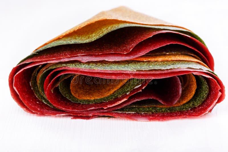 Tklapi - dried mashed fruit pulp / Colorful fruit leather royalty free stock image