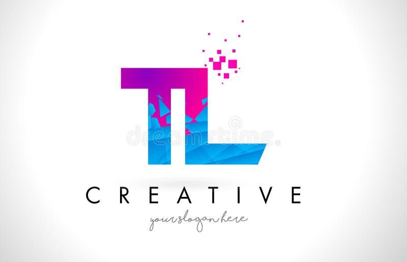 TL de Brievenembleem van T L met Verbrijzelde Gebroken Blauwe Roze Textuur Desig stock illustratie