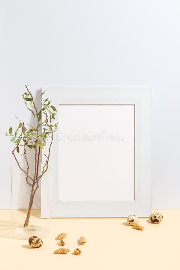 ?tl?je upp den vita ramen och filial med gr?na sidor i bl? vas p? det bokhylla eller skrivbordet Minimalistic begrepp royaltyfri fotografi