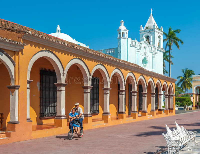 TLACOTALPAN, MEXICO - November, 18, 2013:Streets of mexican town stock image