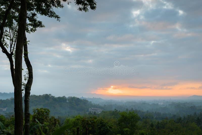 TLandscape da floresta e do nascer do sol que olham o templo de Borobudur fotografia de stock