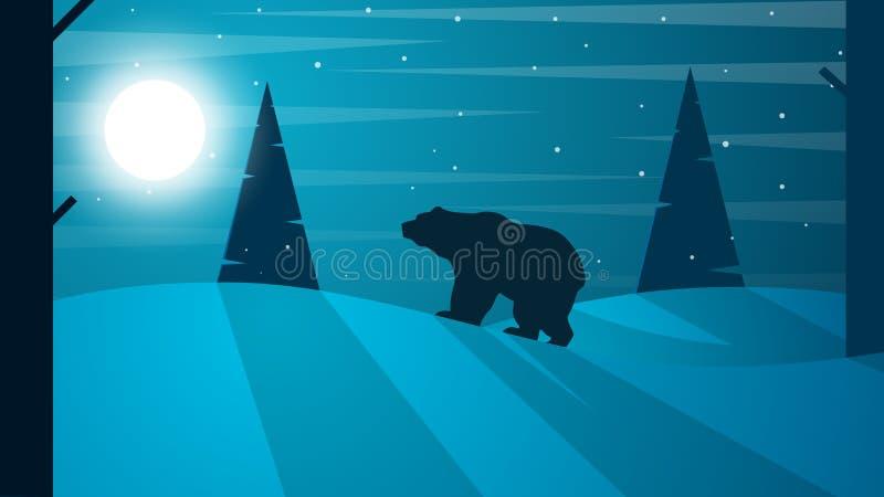 Tlandscape plano de la historieta Ejemplo del oso Abeto, bosque, luna, niebla, nube, nieve, invierno libre illustration