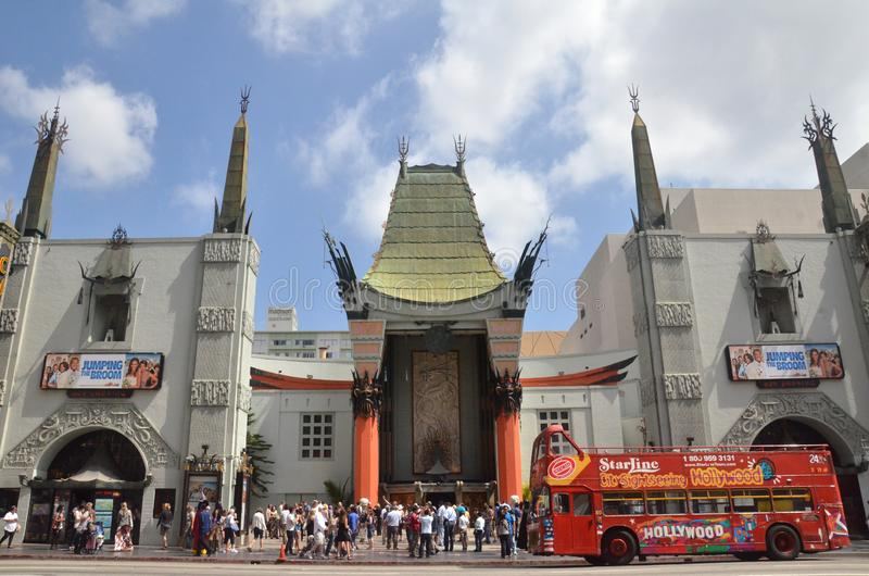 TLC Chinese Theater`s entrance full of tourists in Los Angeles, USA. LOS ANGELES, USA- JULY 2019: TLC Chinese Theater`s entrance full of tourists in Los Angeles stock image