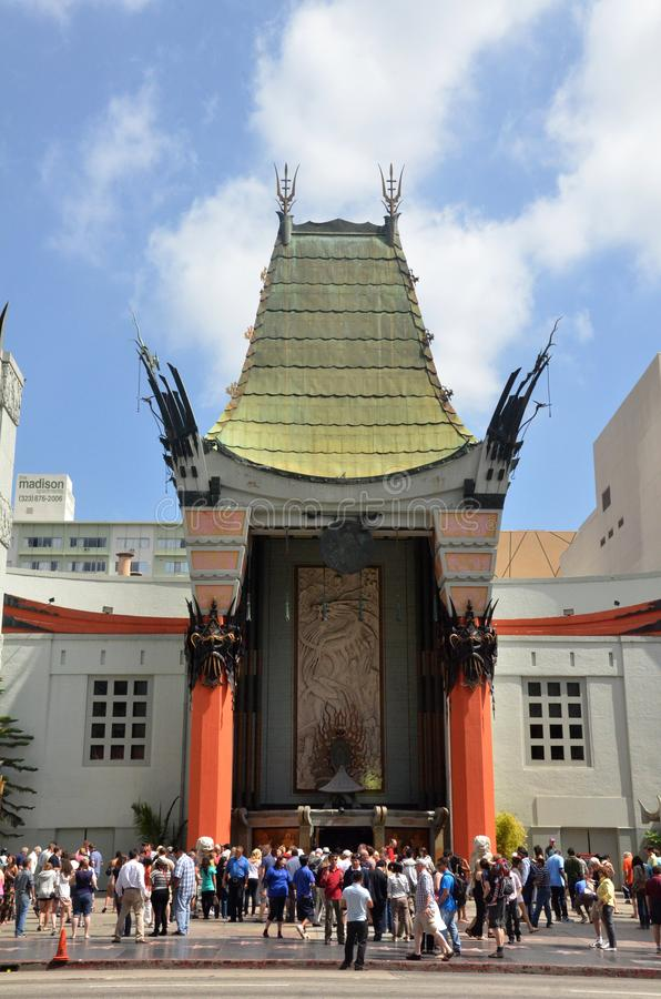 TLC Chinese Theater`s entrance full of tourists in Los Angeles, USA. LOS ANGELES, USA- JULY 2019: TLC Chinese Theater`s entrance full of tourists in Los Angeles royalty free stock photos