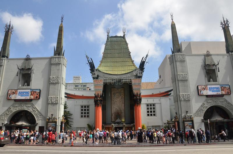 TLC Chinese Theater`s entrance full of tourists in Los Angeles, USA. LOS ANGELES, USA- JULY 2019: TLC Chinese Theater`s entrance full of tourists in Los Angeles stock photo