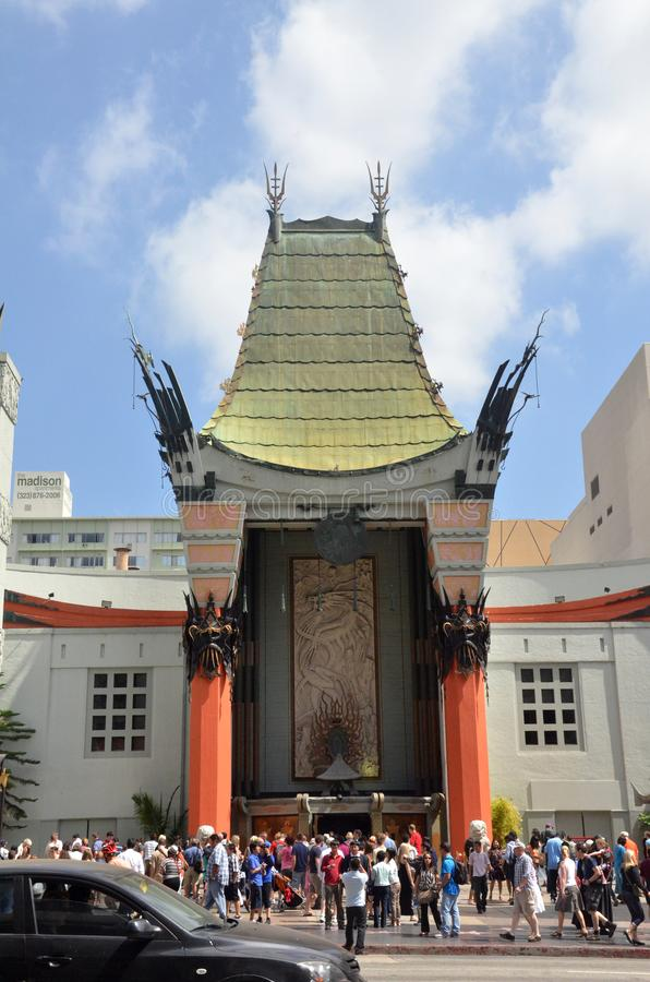 TLC Chinese Theater`s entrance full of tourists in Los Angeles, USA. LOS ANGELES, USA- JULY 2019: TLC Chinese Theater`s entrance full of tourists in Los Angeles stock photography