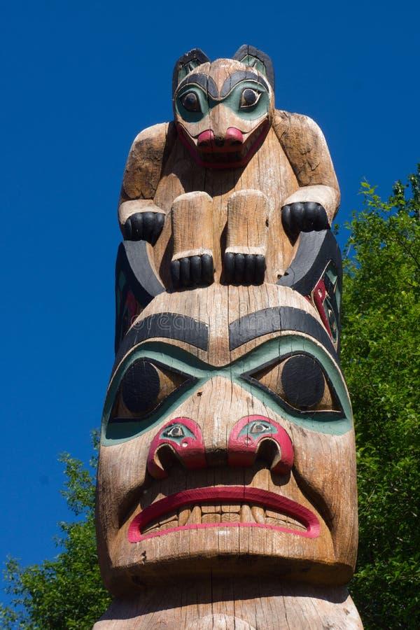 Tlingit totemu słup Alaska zdjęcia stock