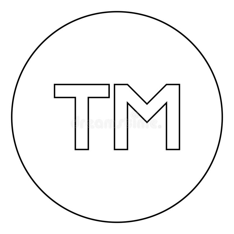 TM letter trademark icon in circle round outline black color vector illustration flat style image. TM letter trademark icon in circle round outline black color stock illustration