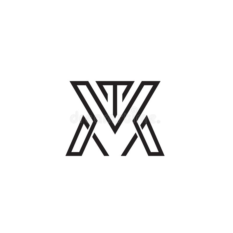 Tm-logo med det framtida teknologibegreppet med robotic stil vektor illustrationer