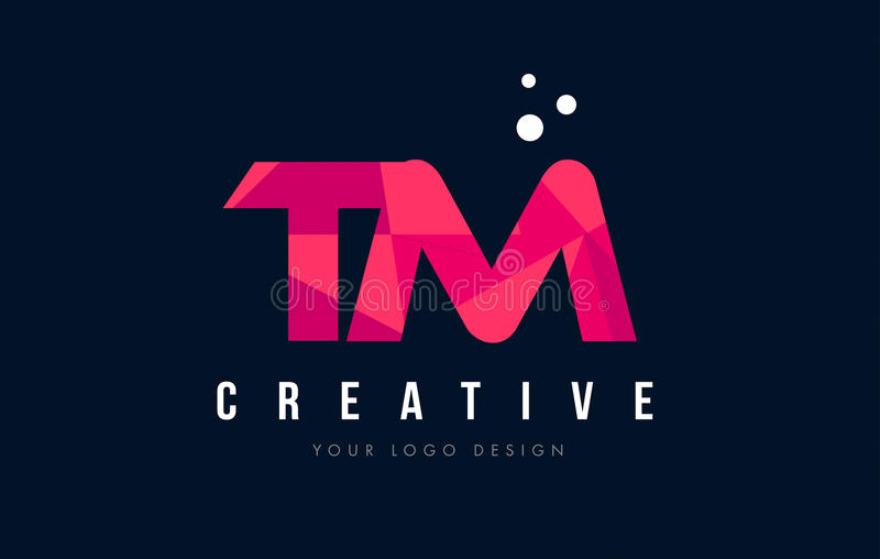TM T M Letter Logo with Purple Low Poly Pink Triangles Concept royalty free illustration