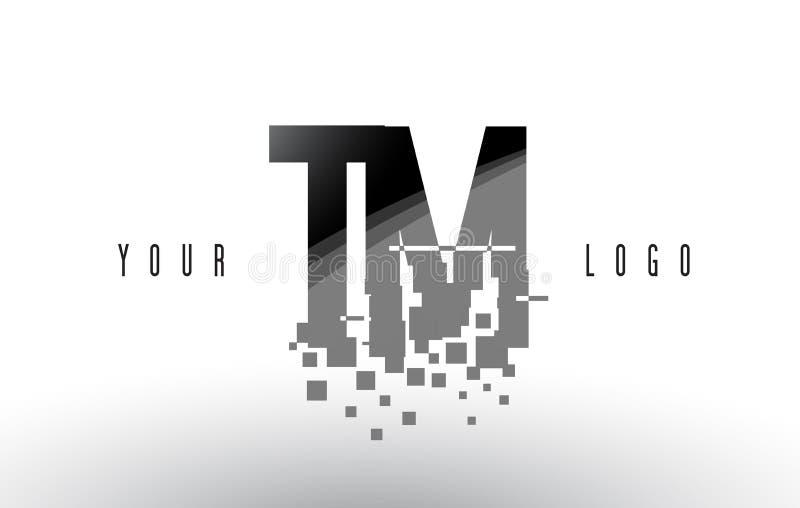 TM T M Pixel Letter Logo med Digital splittrade svarta fyrkanter stock illustrationer