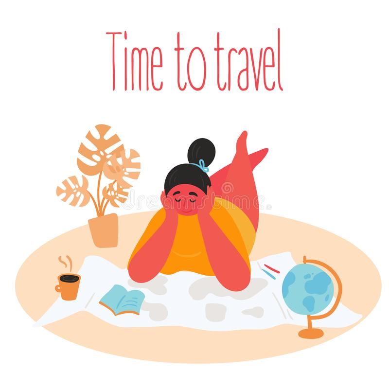 Tme to travel. Woman planning trip with paper map vector illustration