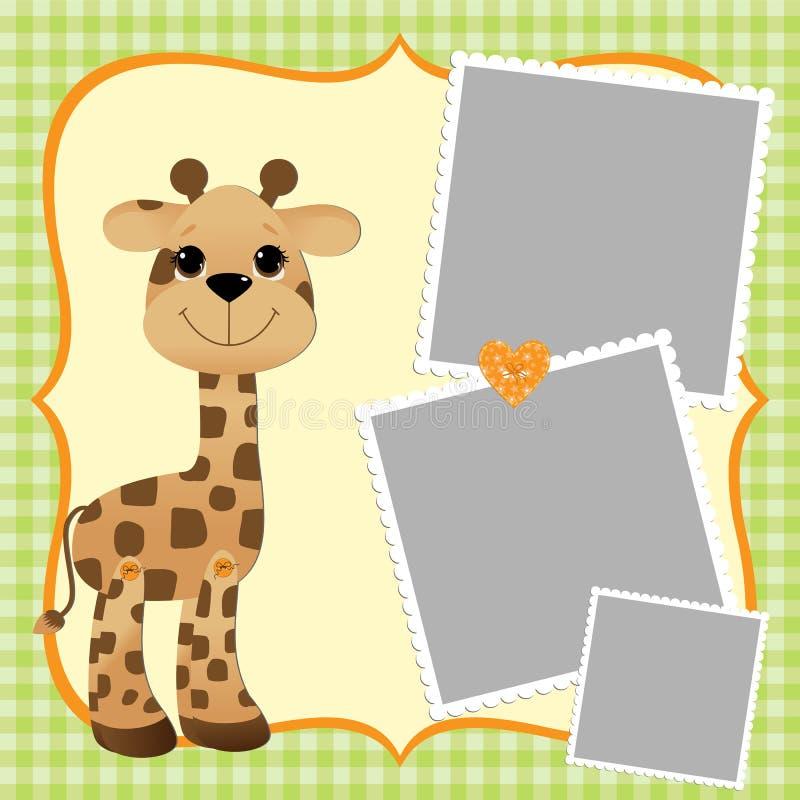 Tmeplate mignon pour la carte postale avec la giraffe illustration stock
