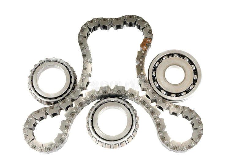 Tming chain and bearings. Automotive roller bearings aand timing chain stock photos