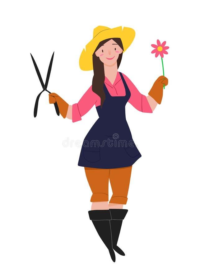 Gardener. Lovely girl in boots, blue apron, straw hat. Character people vector illustration. stock illustration