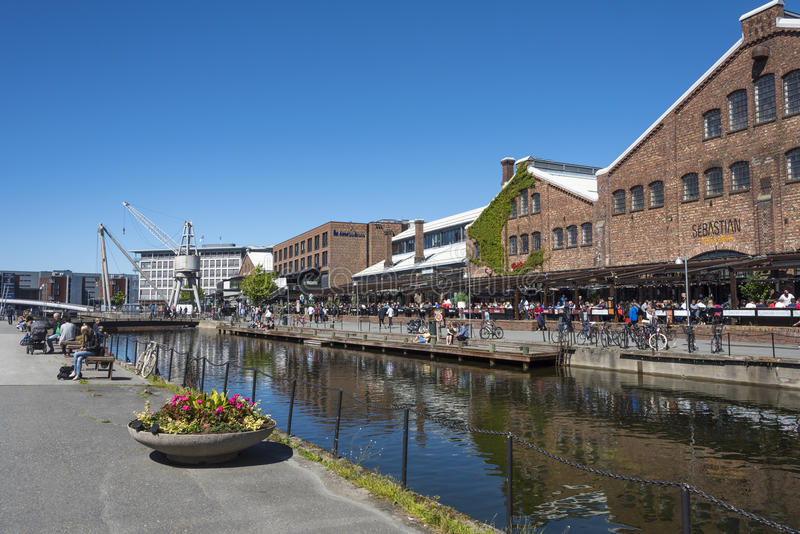 TMV-kaia Trondheim. TMV-kaia, an old old shipyard area with an old drydock now a popular area with reastaurants and shopping centre. Trondheim, Norway stock images