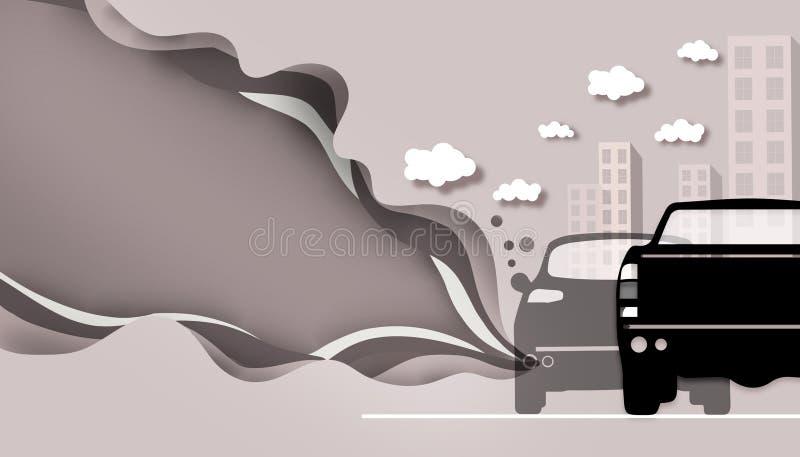 Tnący papier - Drogowy zanieczyszczenie od samochodu dymu royalty ilustracja