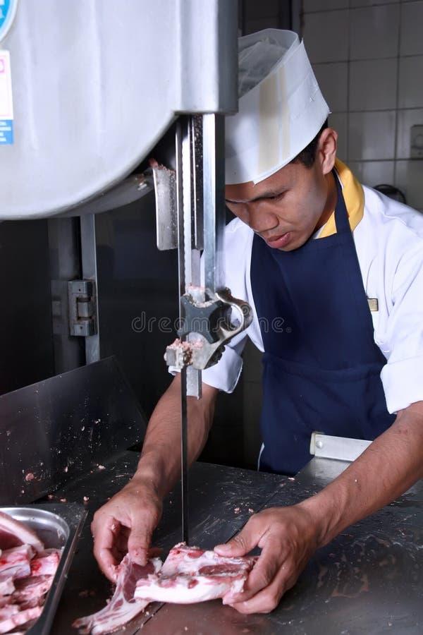 tnący szef kuchni mięso obrazy royalty free