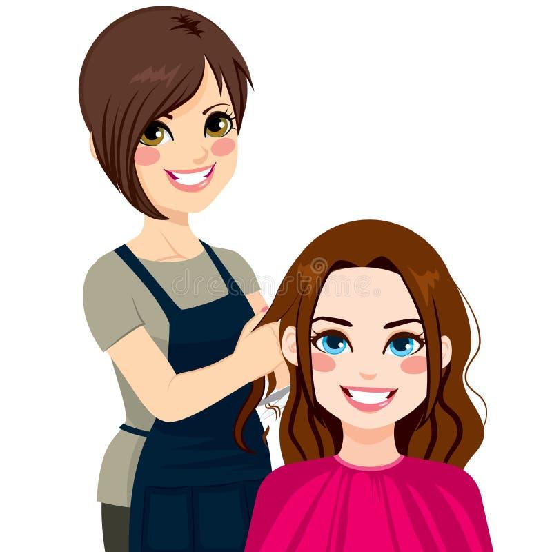 tnący włosiany fryzjer wręcza s narzędzi kobiety ilustracji