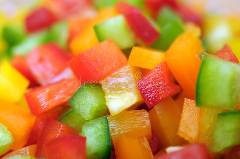 Tnących colorfuls dzwonkowy pieprz fotografia stock