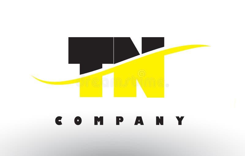 TN T logo noir et jaune de N de lettre avec le bruissement illustration de vecteur