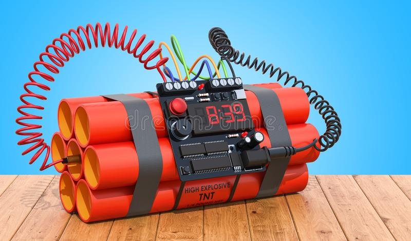 TNT bomb explosive with digital countdown timer clock on the woo royalty free illustration