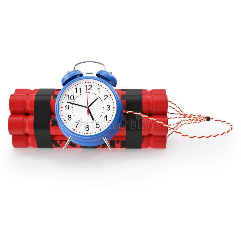 TNT, bomba de relojería de la dinamita en un fondo blanco ilustración del vector