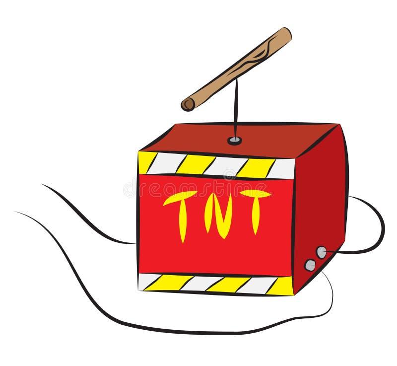 TNT pudełko z zapłonnikiem depeszował wybuchowy ładunek royalty ilustracja