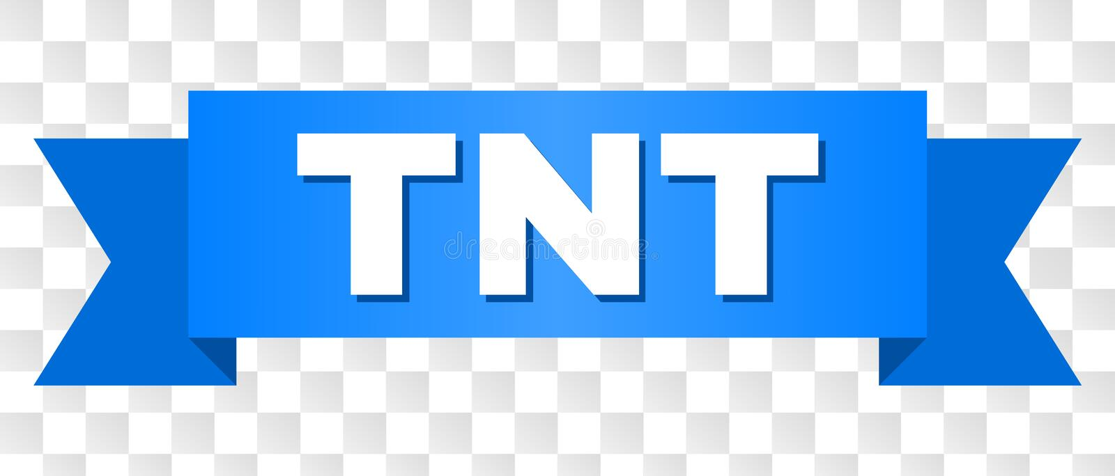 Blue Tape with TNT Title. TNT text on a ribbon. Designed with white caption and blue stripe. Vector banner with TNT tag on a transparent background vector illustration