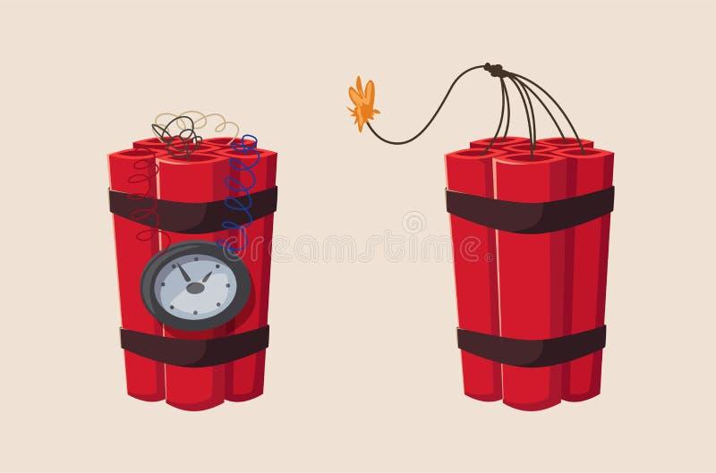 TNT-tid bombarderar med klockan den främmande tecknad filmkatten flyr illustrationtakvektorn vektor illustrationer