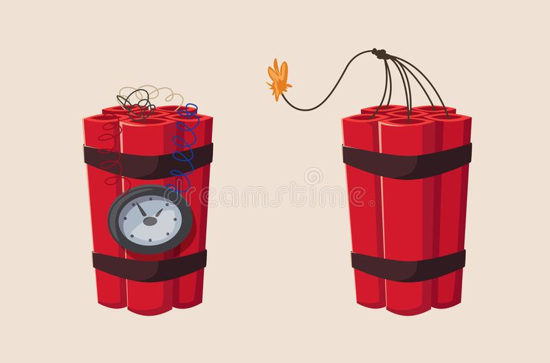 TNT time bomb with clock. Cartoon vector illustration vector illustration