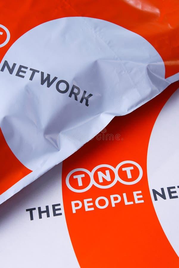 TNT Wyrażają koperty i pakuneczki fotografia royalty free