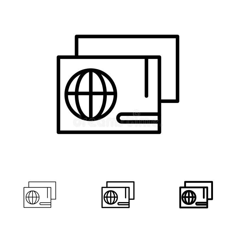 Tożsamość, przepustka, paszport, Robiący zakupy Śmiałego i cienkiego czerni linii ikony set ilustracja wektor