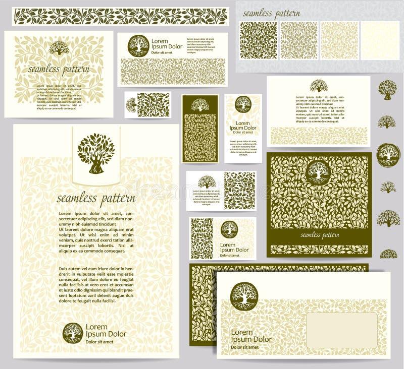 Tożsamość szablon z liścia wzorem royalty ilustracja