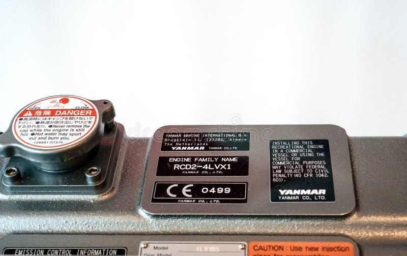 Tożsamości Yanmar japończyka półkowy silnik diesla zdjęcie stock