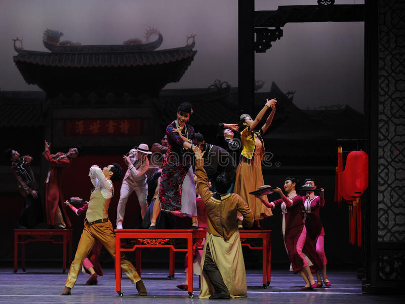 To attend the wedding guests-The first act of dance drama-Shawan events of the past. Guangdong Shawan Town is the hometown of ballet music, the past focuses on royalty free stock photo