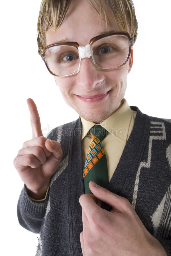 To be, or not to be nerd?. Happy and smart nerd with funny glasses. Smiling and looking at camera. Front view, white background stock photos