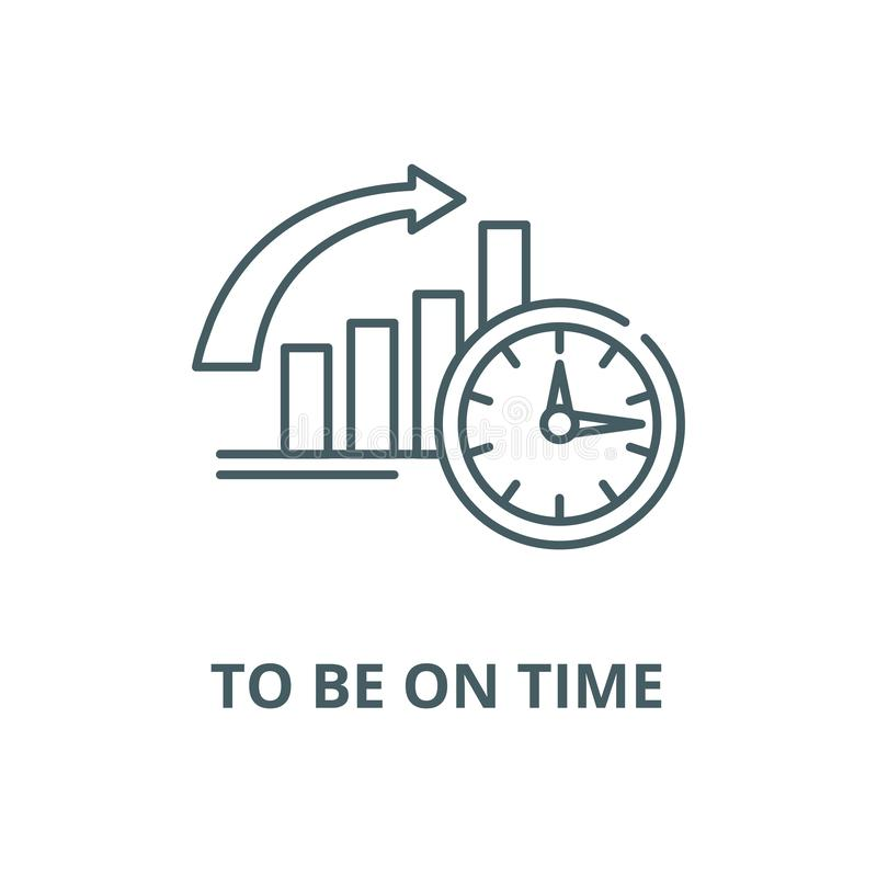To be on time vector line icon, linear concept, outline sign, symbol. To be on time vector line icon, outline concept, linear sign vector illustration