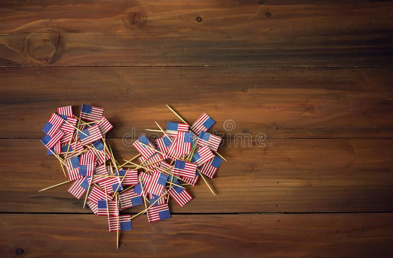 To celebrate Independence Day on the 4th of July with American USA flag. In the shape of heart royalty free stock image