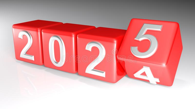 2024 to 2025 changing cubes - 3D rendering vector illustration