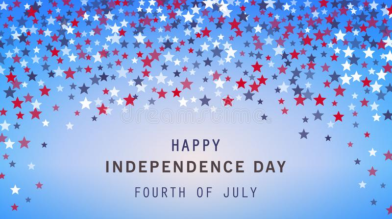 4to de la bandera del día de fiesta de julio en fondo de las estrellas Cartel del Día de la Independencia de los E.E.U.U., aviado stock de ilustración
