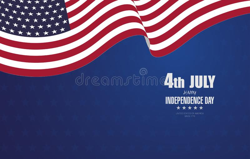 4to de la bandera del D?a de la Independencia de julio ilustración del vector