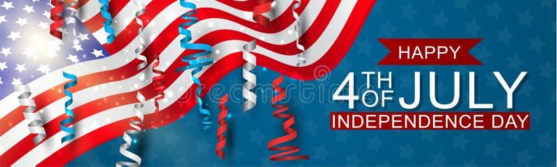 4to de la bandera nacional de la celebración del Día de la Independencia de julio Estados Unidos con el confeti azul, rojo, y bla ilustración del vector