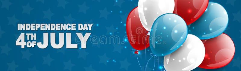 4to de la bandera nacional de la celebración del Día de la Independencia de julio Estados Unidos con los globos azules, rojos, y  libre illustration