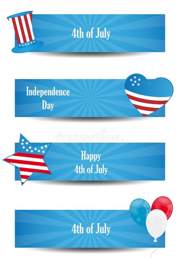 4to de las banderas de julio ilustración del vector
