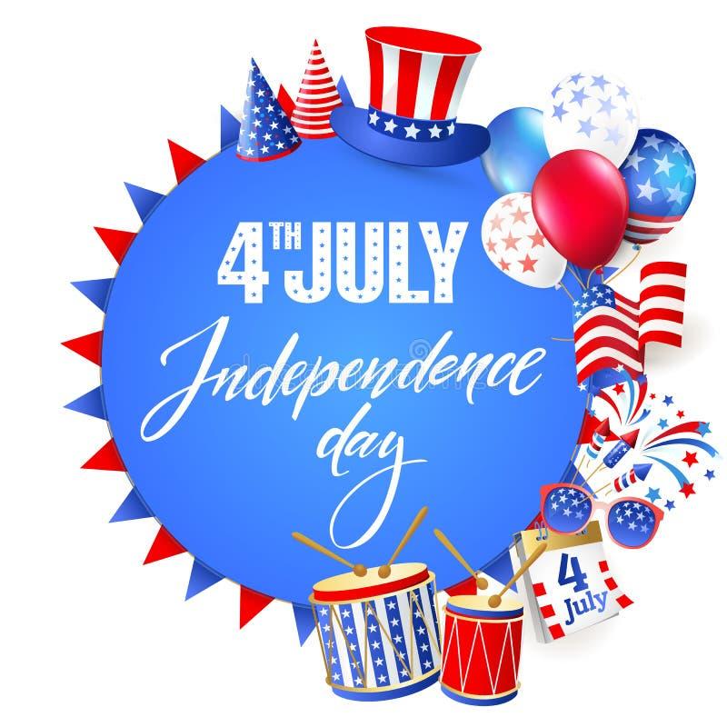 4to del Día de la Independencia de julio de los Estados Unidos de América Cartel, bandera stock de ilustración