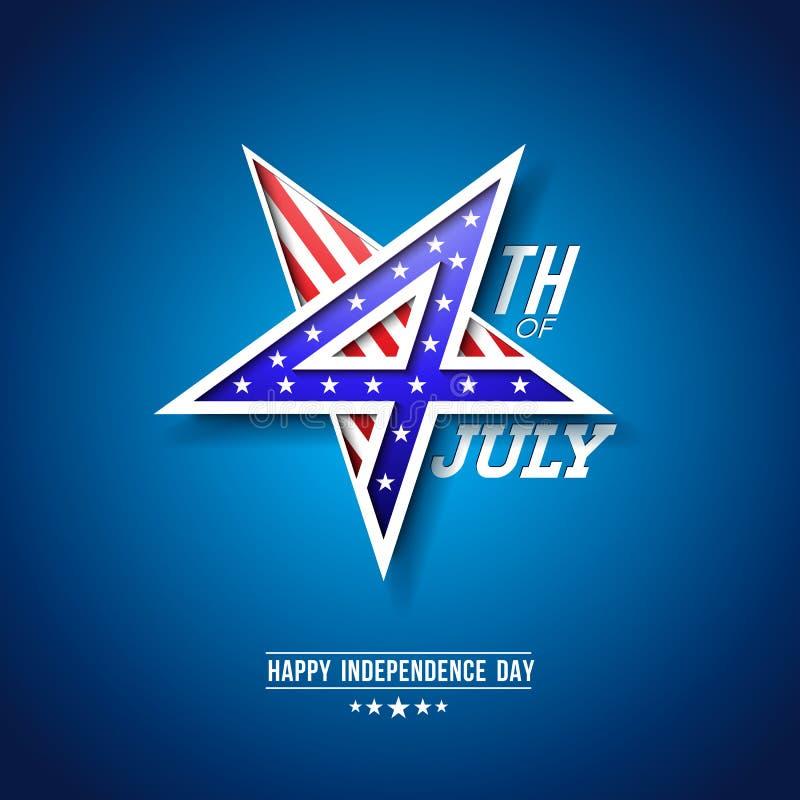 4to del Día de la Independencia de julio del ejemplo del vector de los E.E.U.U. con el número 4 en símbolo de la estrella Cuarto  libre illustration