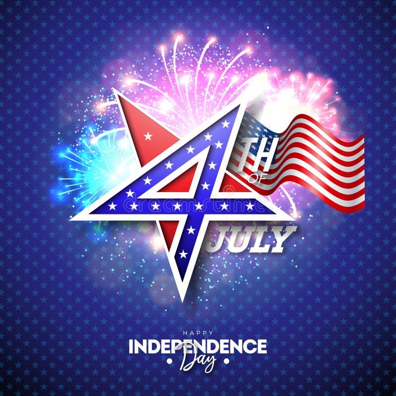 4to del D?a de la Independencia de julio del ejemplo del vector de los E.E.U.U. con el n?mero 4 en s?mbolo de la estrella Cuarto  ilustración del vector