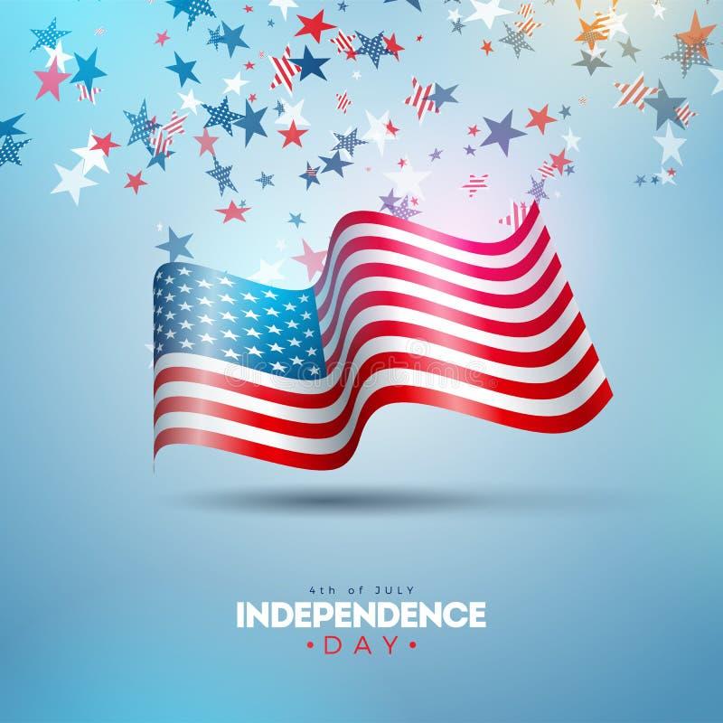 4to del D?a de la Independencia de julio del ejemplo del vector de los E.E.U.U. Cuarto del dise?o nacional americano de la celebr libre illustration