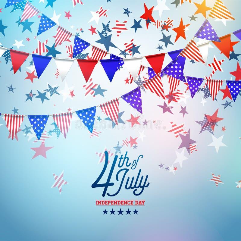 4to del D?a de la Independencia de julio del ejemplo del vector de los E.E.U.U. Cuarto del dise?o nacional americano de la celebr stock de ilustración